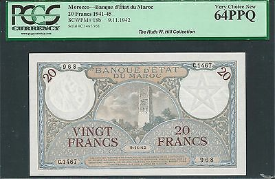 Morocco 1942 P-18b PCGS Very Choice New 64 PPQ 20 Francs