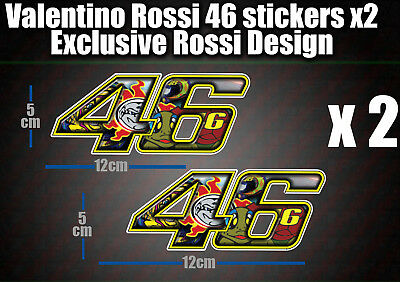 Valentino Rossi 46 Decal Sticker x2 laptop helmet bike car scooter 46 agv moto