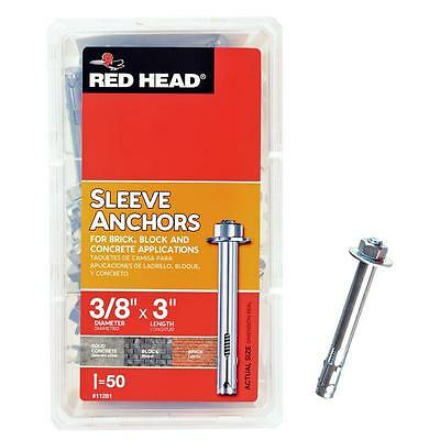 Red Head  3/8 in. x 3 in. Zinc-Plated Steel Hex Head Sleeve Anchors (50-Pack)