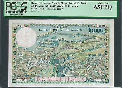 Morocco 1955 (ND 1959) P-52 PCGS Gem New 65 PPQ 100 Dirhams on 10,000 Francs
