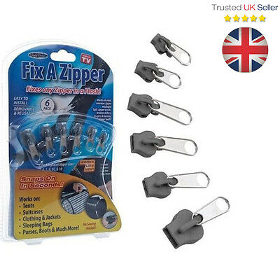 UK 6Pcs Fix A Zipper Zip Slider Repair Instant Removable Mend Rescue Replacement