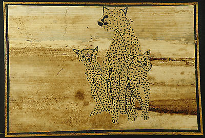 African Kenyan Animals Wall Art 2 x Banana Fibre Batiks Lion or Cheetah