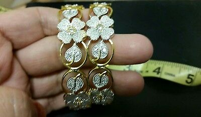 2x Sterling Silver CZ Flower Slip On Bangle Set Gold Plated 2.4 US seller