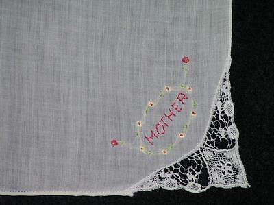 Lace Corner White Handkerchief/Hankie/Hanky Embroidered Mother w/Floral Garland