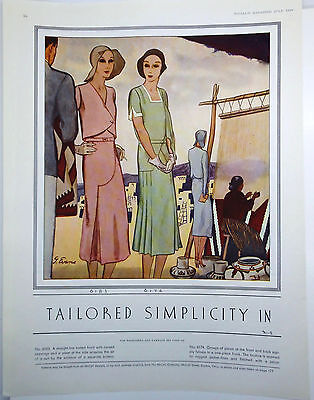 """1930 McCALL'S MAGAZINE Pattern Ad """"TAILORED SIMPILCITY"""" Illustration by J. Evans"""