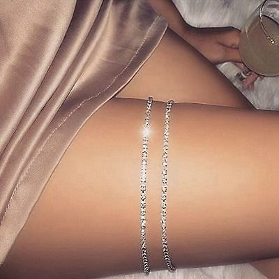 Women Shiny Body Jewelry Rhinestone Crystal Leg Thigh Chain