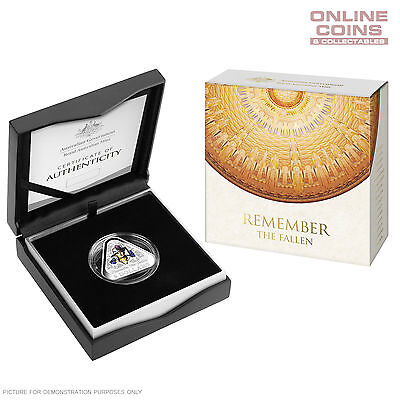 2016 $5 COLOURED FINE SILVER PROOF TRIANGULAR COIN - Remember The Fallen - NEW!