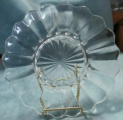 """Three (3) Vintage Signed Heisey Crystal Crystolite 8 1/4"""" Luncheon Plates"""