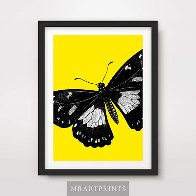 YELLOW BUTTERFLY ART PRINT POSTER Animal Colourful Color Pop Bright Illustration