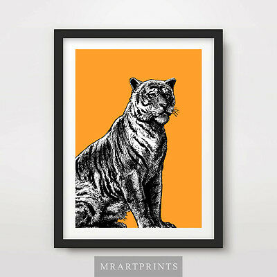 SITTING TIGER ART PRINT POSTER Animals Bright Cats Decor Illustration