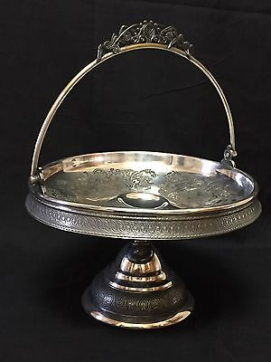 Wilcox Silverplate Brides Basket Cake Stand Footed & Handled - Birds & Flowers
