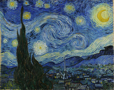 Van Gogh - Starry Night  Canvas 100% cotton wall home Decor high quality