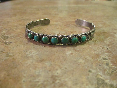QUITE OLD  Fred Harvey Era Navajo Sterling Silver Turquoise ROW Cuff Bracelet