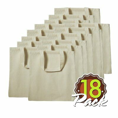 Canvas Grocery & Shopping Tote Bag - Eco-Friendly Reusable Wholesale Lot of 18
