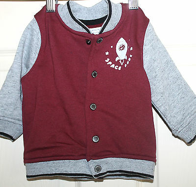New with Tags PUMPKIN PATCH Baby Boys burgundy/grey Baseball JACKET size 3-6m