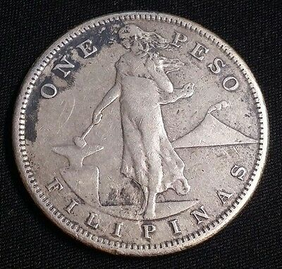 1907 S Philippines US Administration 1 Peso Silver Coin Free Shipping!