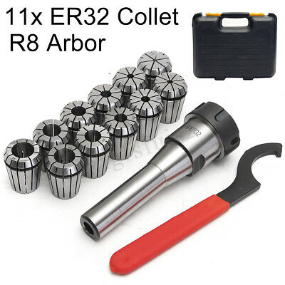 11pcs ER32 Spring Collets Set 3-19mm + R8-ER32 Collet Chuck Morse Taper Holder