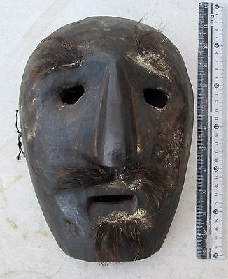 BEAUTIFULLY CARVED Old Tamang Bodhi Tree Wood & Yak Hair Lama Shaman Mask