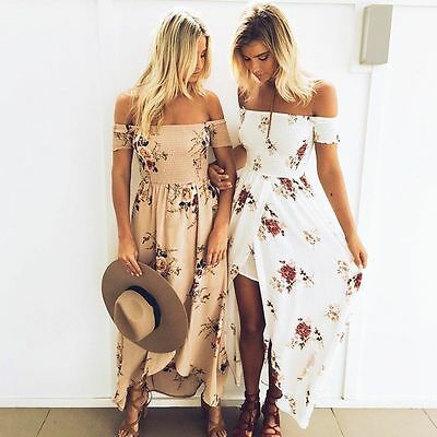 Women Ladies Shirred Dress Holiday Dress Party Beach Dress Strapless Maxi Dress