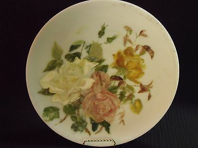 "19Th Century Antique 12"" Milk Glass Plate With Hand Painted Rose Bouquet"