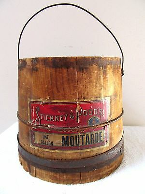 Rare Antique Wood Firkin Bucket Advertising Food Primitive Boston Country