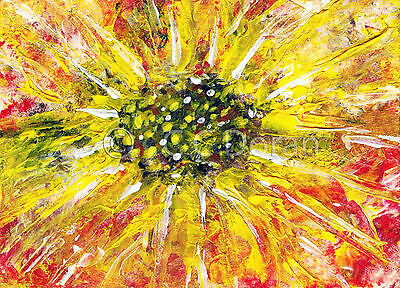 ACEO Ltd.Ed.Print Original Abstract Flowers Floral Sunflower FA039 Art Painting