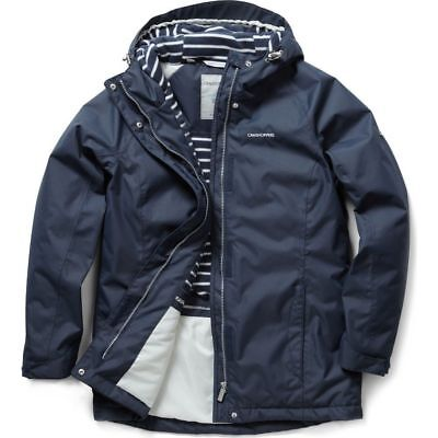 Craghoppers Womens Madigan Waterproof Thermic Padded Coat Jacket Navy Blue