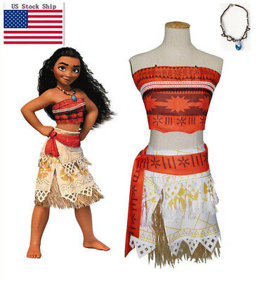 Girl Women Movie Polynesia princess Moana Cosplay Costume Dress halloween 5pcs