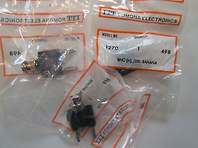Pomona 1270-2(Blk) 3 Lot Bnc Male To Double Banana Plug. Nos New Bagged