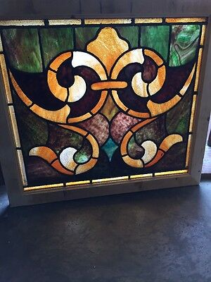 Sg 1408 Antique Fleur-De-Lis Stainglass Window 30 W X 26.5 H