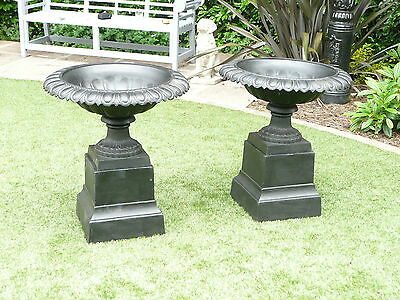 Pair Of Victorian Classic Tazza Style Cast Iron Large Quality Garden Urn Black