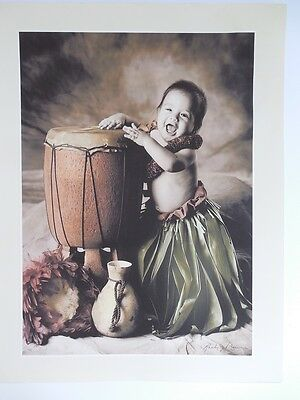 "Hawaiian Baby Drumming Pahu Giclee Art Print 14"" X 11"" Hawaii"