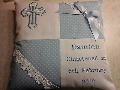 Personalised Christening/baptism  Cushion  For Boy Or Girl