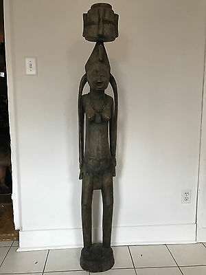 Huge 68.5 In. Tall Antique Carved African Female Fertility/Maternity Wood Statue