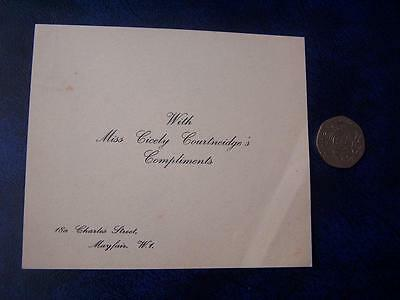 Cicely Courtneidge  Ephemera - Music Hall Theatre Film History - Compliment Slip