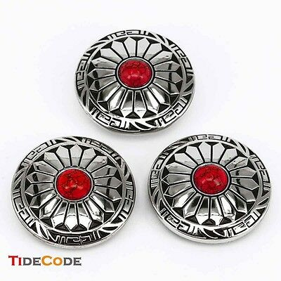 3 PCS Red Turquoise Conchos Decoration Clasp LeatherCraft Accessories Screwback/