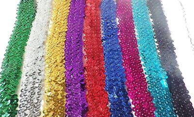 1 Metre of 30MM wide 3 ROW ELASTIC STRETCH SEQUIN TRIM : Select from10 Colours