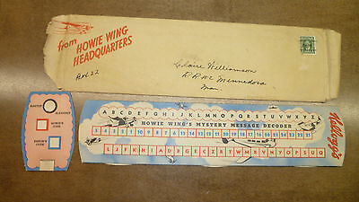 VERY RARE Kelloggs Howie Wing Mystery Message Decoder With original Envelope!!