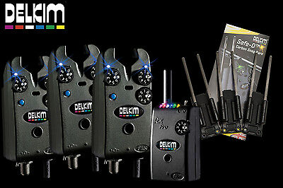 Delkim NEW TXI Set Carp Bite Alarms X3 + RX Plus Pro Receiver + Free Snag Ears