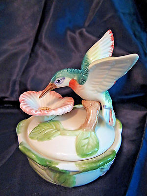 "Hummingbird trinket box with lid ceramic 5"" tall decorative collectible"