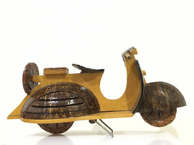 Motorcycle Vespa carved from Wood and Coconut shell Handmade  Free Shipping