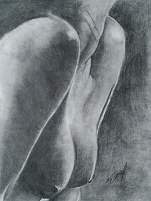Pencil Drawing Nude Female Neck Brest 11x14 size Original Signed Picture