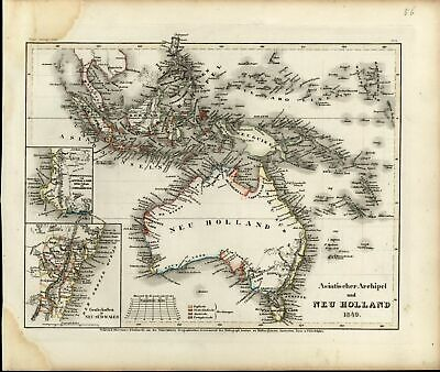 New Holland NSW colony Australia Van Diemen Land Oceania 1849 antique Meyer map