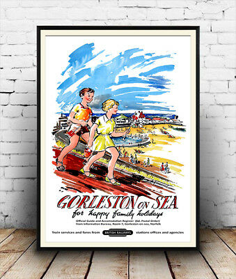 Gorleston on sea :  Vintage Railway travel advert ,  Poster reproduction.