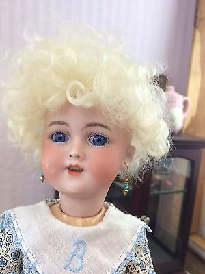 "12"" Antique Bisque Head German Doll SANTA 1249 Composition Body Blue Eyes!"