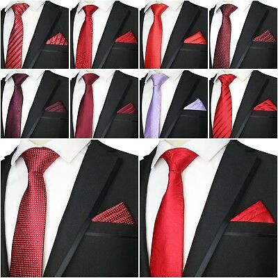 Quality Men's Wedding Groom Party Slim Tie Pocket Square Set Silk Polyester New