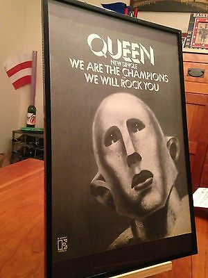 2 Big 11X17 Framed Queen News Of The World/ We Are The Champions Lp Cd Promo Ads