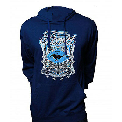 Apparel Jersey Hoodie Large Pull-Over Dark Blue With Ford Mustang Premium Qualit