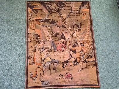 Vintage French Circus PARTY Scene Tapestry Wall Hanging 32X25
