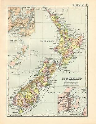 1901 Large Victorian  Map- New Zealand,inset Wellington,auckland